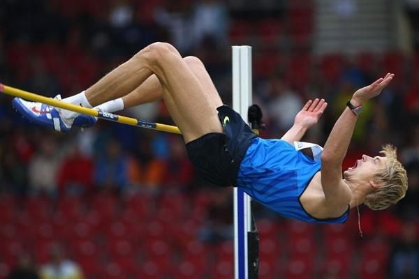 Andrey Silnov of Russia wins the high jump with 2.35m (Getty Images)