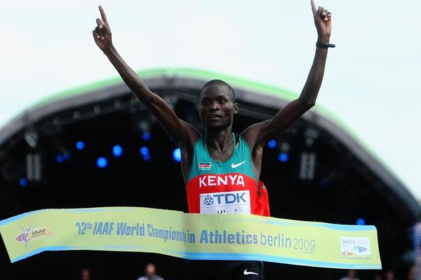 Abel Kirui of Kenya crosses the Marathon finish line to win the gold medal and set a Championship Record of 2:06:54 at the IAAF World Championships in Berlin (Getty Images)