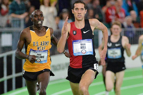 Ryan Hill sprints to victory at the US Indoor Championships (Kirby Lee)