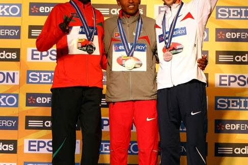 The men's medallists in the IAAF/EDF Energy World Half Marathon Championships in Birmingham (Getty Images)