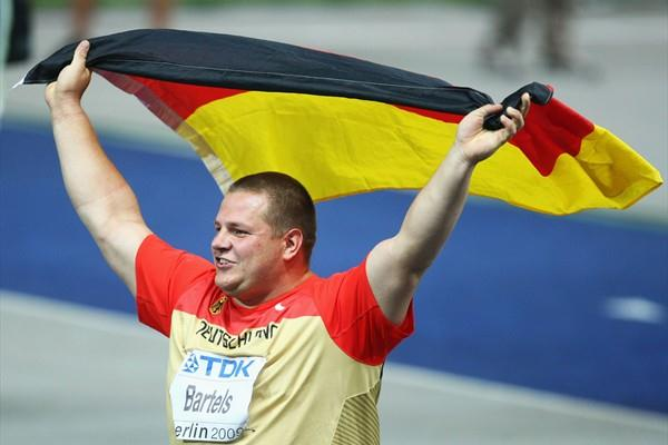 Germany's Ralf Bartels grabs the host nations first medal of the 12th IAAF World Athletics Championships in the form of a bronze medal in the men's Shot put (Getty Images)