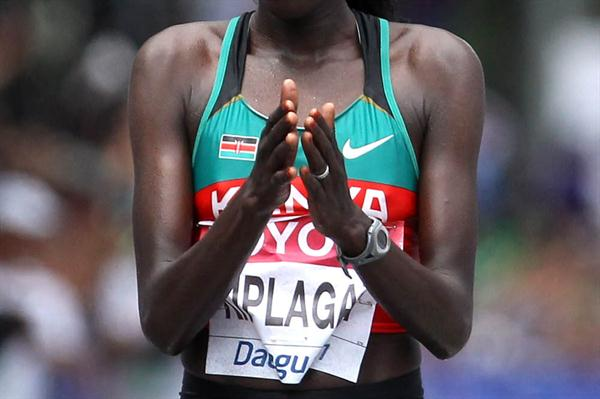 Edna Ngeringwony Kiplagat of Kenya celebrates winning the women's marathon - Day One - WCH Daegu 2011 (Getty Images)