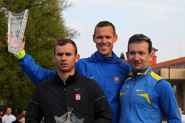 Rafal Fedaczynski, Matej Toth and Andriy Kovenko after the 2014 Podebrady men's 20km race walk (Jan Kucharcík / atletika.cz)