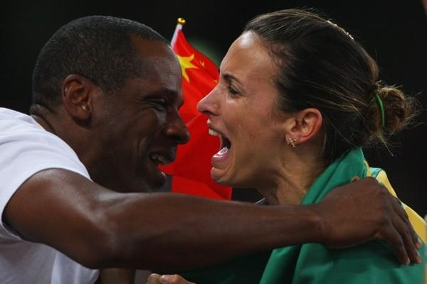 Maurren Higa Maggi in disbelief after winning the Olympic long jump title (Getty Images)