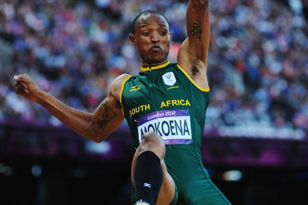 Godfrey Khotso Mokoena of South Africa competes in the Men's Long Jump Final on Day 8 of the London 2012 Olympic Games at Olympic Stadium on August 4, 2012 (Getty Images)