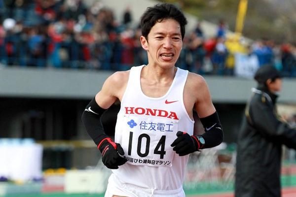 Masakazu Fujiwara, the top Japanese finisher at the Lake Biwa Marathon (Victah Sailor)