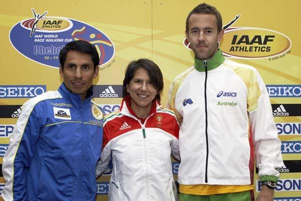 Jefferson Perez of Ecuador, Susana Feitor of Portugal and Luke Adams of Australia at the Press Conference (Getty Images)