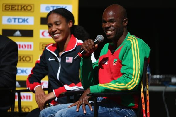 Kim Collins at the press conference ahead of the IAAF World Indoor Championships Portland 2016 (Getty Images)
