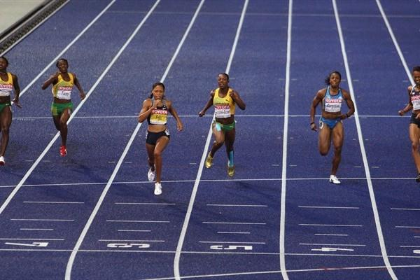 Allyson Felix of the United States on her way to winning the women's 200m in Berlin (Getty Images)