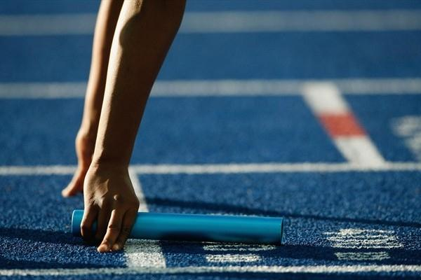 An athlete starts the women's 4x100m relay heats at the IAAF World Championships in Berlin (Getty Images)