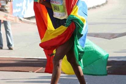 Alemtsehay Hailu of Ethiopia wins the women's race at the 2008 BLOM Beirut Marathon (LOC)
