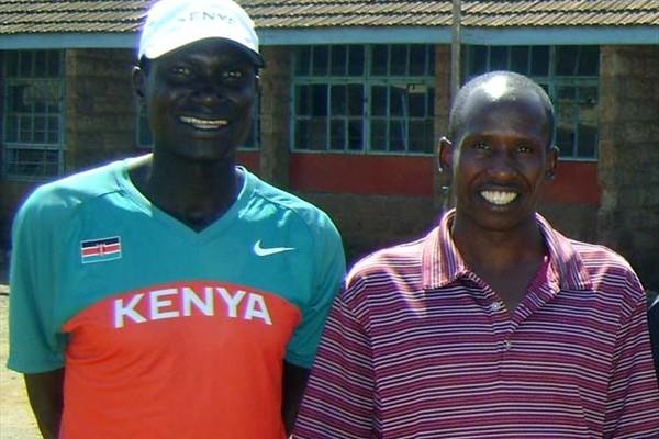 left to right: Robert Kipkoech Cheruiyot and Martin Lel in Kibera suburb of the Kenyan capital (Saddique Shaban)