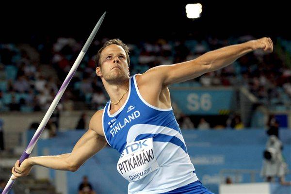 Tero Pitkamaki of Finland competes in the men's javelin throw qualification round (Getty Images)