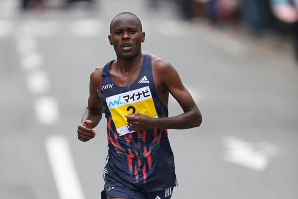 Patrick Makau during the 2015 Fukuoka Marathon (Takefumi Tsutsui / Agence SHOT)