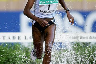 Dorcus Inzikuru of Uganda on her way to victory at the World Athletics Final (Getty Images)