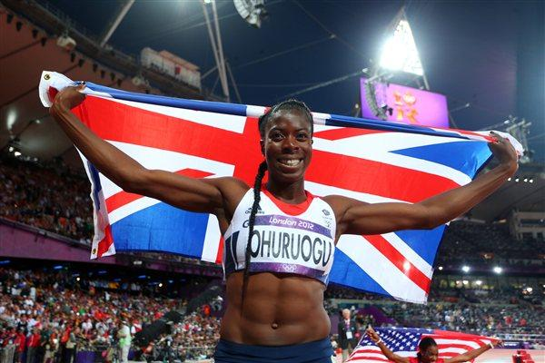 Christine Ohuruogu of Great Britain celebrates winning silver in the Women's 400m Final on Day 9 of the London 2012 Olympic Games at the Olympic Stadium on August 5 2012 (Getty Images)
