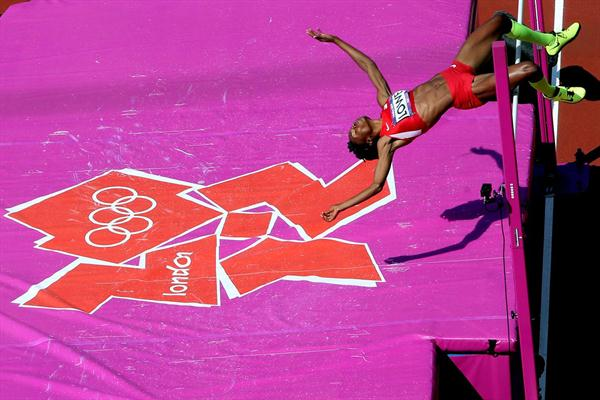 Chaunte Lowe of the United States competes during the Women's High Jump qualification on Day 13 of the London 2012 Olympic Games on August 9, 2012 (Getty Images)
