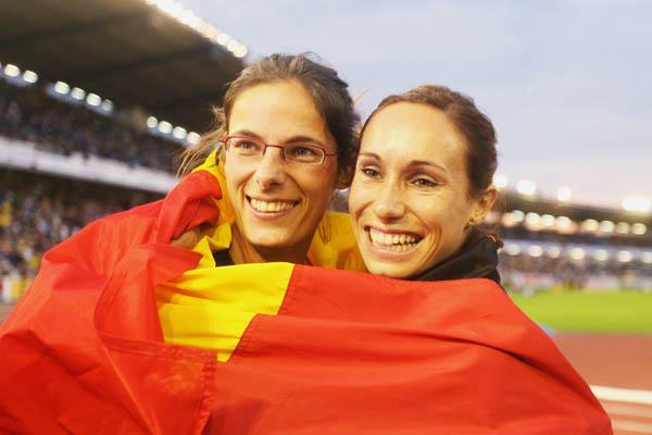 Tia Hellebaut and Kim Gevaert celebrating in Gothenburg (Getty Images)