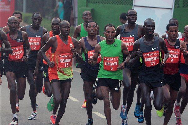Elite Men's runners in the Airtel Delhi Half Marathon 2012 (organisers)