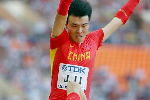 Li Jinzhe of China in action in the Long Jump (Getty Images)
