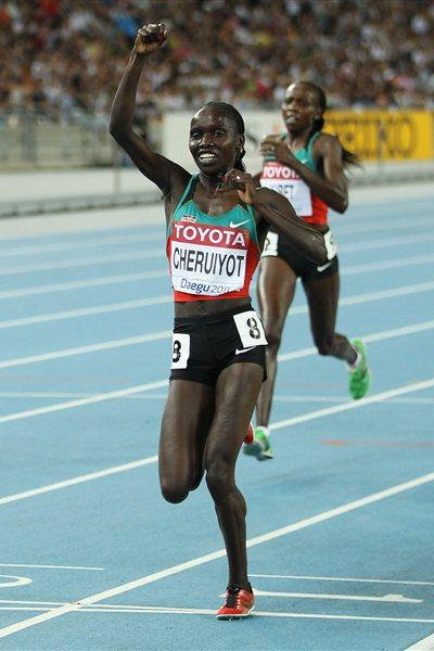 Vivian Jepkemoi Cheruiyot of Kenya celebrates winning the women's 5000 metres final  (Getty Images)