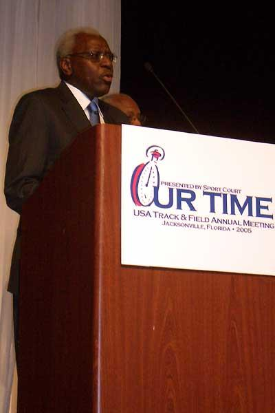 Lamine Diack making the IAAF Golden Order of Merit announcement at the USATF Annual Meeting in Jacksonville, Florida (USATF)