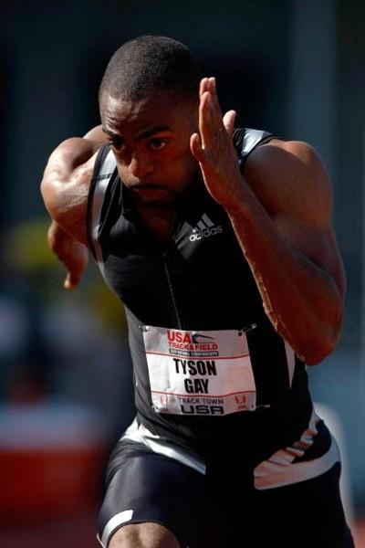 Tyson Gay on his way to 9.75w for the 100m in the first round of the USATF champs (Getty Images)