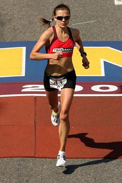 Magdalena Lewy Boulet taking the runner-up spot at the US Olympic Marathon trials in Boston (Getty Images)