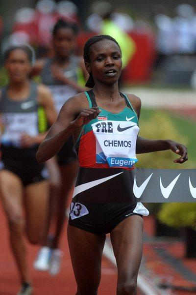 Milcah Chemos takes another fine win at the 3000m Steeplechase in Eugene (Kirby Lee - Image of Sport)