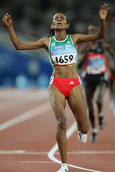 Meseret Defar celebrates winning the 5000m Olympic gold (Getty Images)