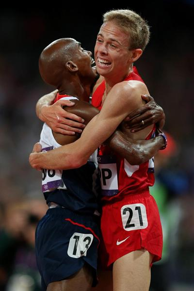 Training partners Mo Farah and Galen Rupp celebrate their 1-2 finish in the Olympic 10,000m final (Getty Images)