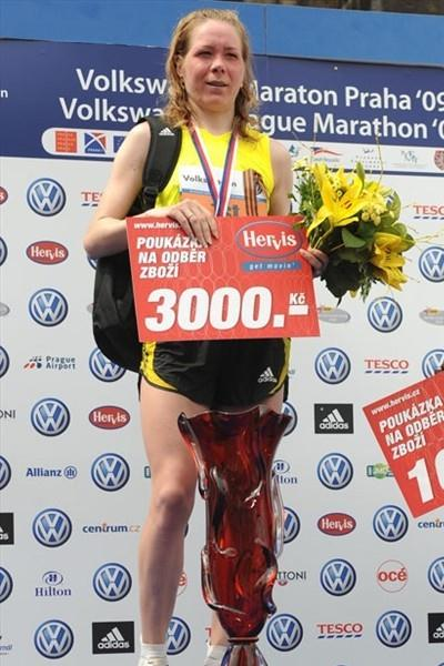 Olga Glok of Russia after her victory at the Prague Marathon (organisers)