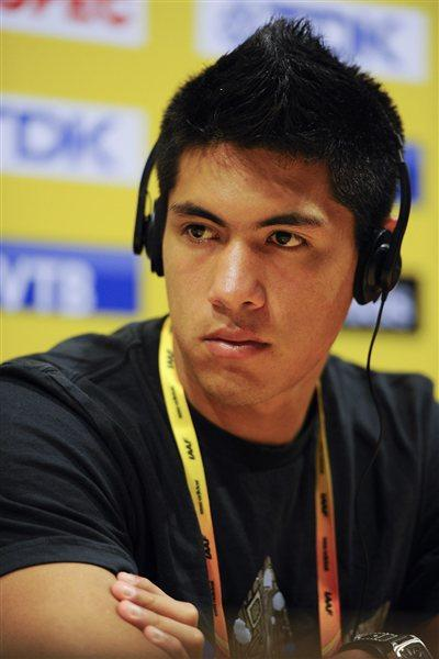 Braian Toledo of Argentina addresses the media at the IAAF Press Conference for the IAAF World Junior Championships  (Getty Images)