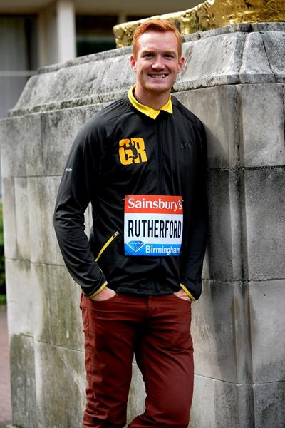 Greg Rutherford at the 2013 IAAF Diamond League in Birmingham pre-event press conference (Mark  Shearman)