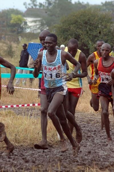 Five times World cross country champion Paul Tergat (716) competes in the 12km men's race at the 2009 Kenyan Armed Forces Cross Country Championships at the Kahawa Garrison in Nairobi (Elias Makori)
