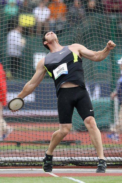 Lance Brooks throws a PB 65.15m to win the US title in Eugene (Getty Images)