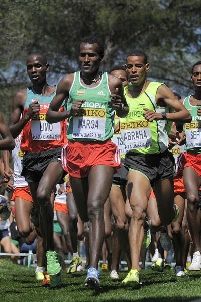 Imana Marga of Ethiopia of his way to winning the men's senior race in Punta Umbria (Getty Images)