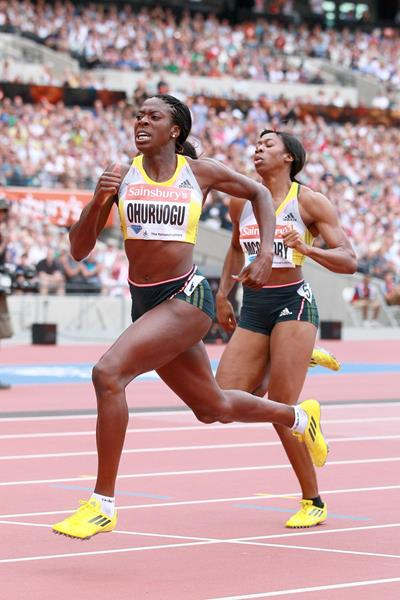 Christine Ohuruogu on her way to victory at the IAAF Diamond League meeting in London (Victah Sailer)