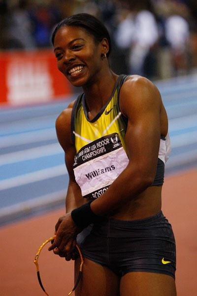 All smiles: Angela Williams after taking the US 60m crown (Getty Images)