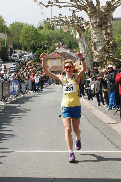Kajsa Berg wins the women's title at the 2013 IAU European 100km Championships (Jan Vandendriessche)