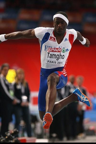 Teddy Tamgho en route to one of his 17.92m World records in Paris (Getty Images)