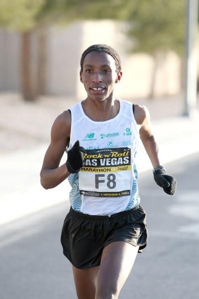 Caroline Rotich en route to a 2:29:47 PB in Las Vegas (Victah Sailer)
