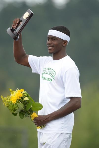 Trayvon Bromell after setting a 100m world junior record of 9.97 at the 2014 NCAA Championships (Kirby Lee)