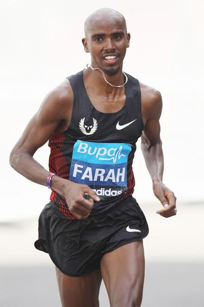 Mo Farah in action at the Bupa London 10,000 (Getty Images)