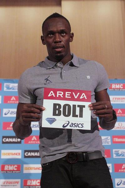 Usain Bolt at a press conference ahead of the 2013 IAAF Diamond League meeting in Paris (Jean-Pierre Durand)