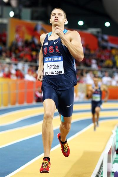 Trey Hardee of USA during the Heptathlon 1000m (Getty Images)