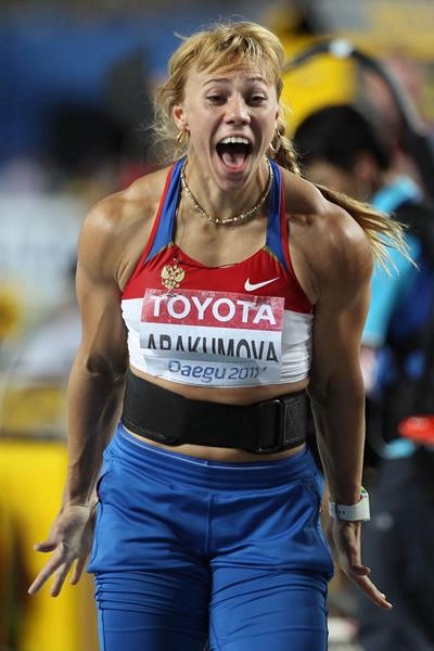 Maria Abakumova of Russia celebrates victory in the women's javelin throw final (Getty Images)