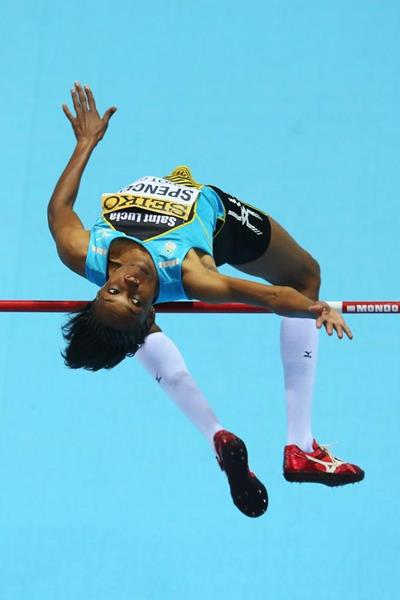 Levern Spencer in high jump qualifying at the 2014 IAAF World Indoor Championships in Sopot (Getty Images)