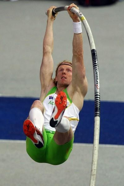 Olympic Champion Steven Hooker of Australia competes in the men's Pole Vault final in Berlin (Getty Images)