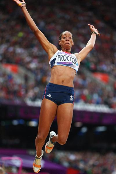 Shara Proctor of Great Britain competes in the Women's Long Jump Qualifications on Day 11 of the London 2012 Olympic Games at Olympic Stadium on August 7, 2012 (Getty Images)